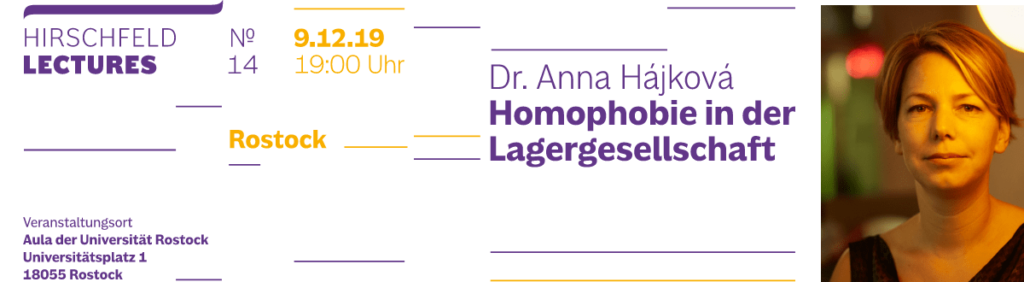 Langer Banner  Hirschfeld Lectures am 9. 12. 2019 in Rostock