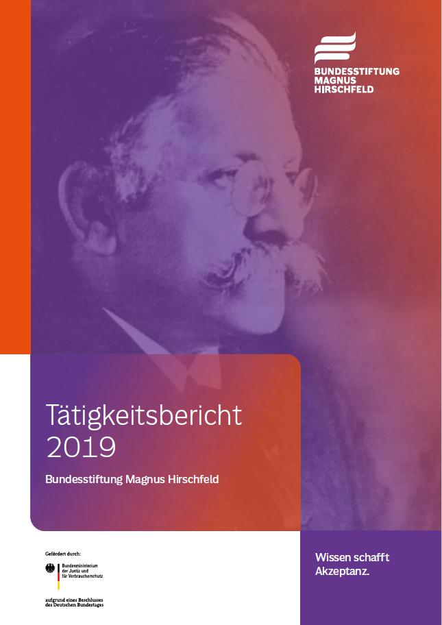 Titelseite Tätigkeitsbericht 2019 der Bundesstiftung Magnus Hirschfeld
